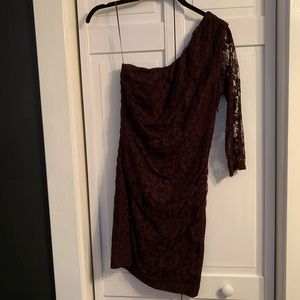 Express Maroon Lace One Shoulder Dress